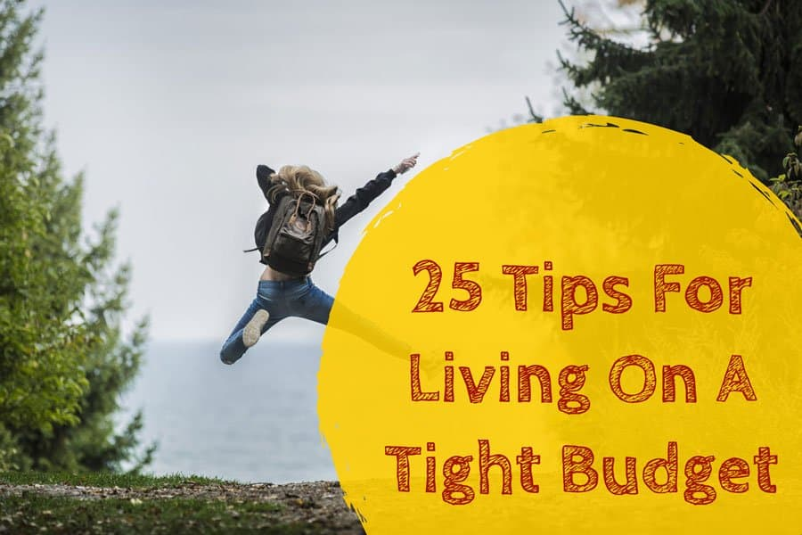 Image of girl jumping that says 25 tips for living on a tight budget
