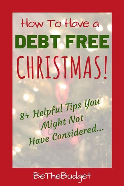 Tall image saying how to have a debt free christmas