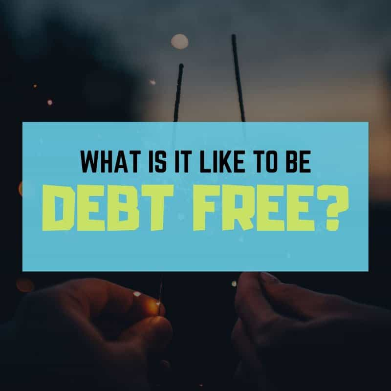 Photo of sparklers reading, 'What is it like to be debt free?'