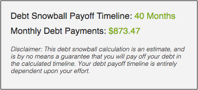 Debt snowball calculator Step 4: Understanding your results