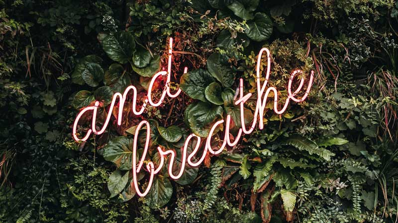 Light up sign that says 'and breathe' | BeTheBudget