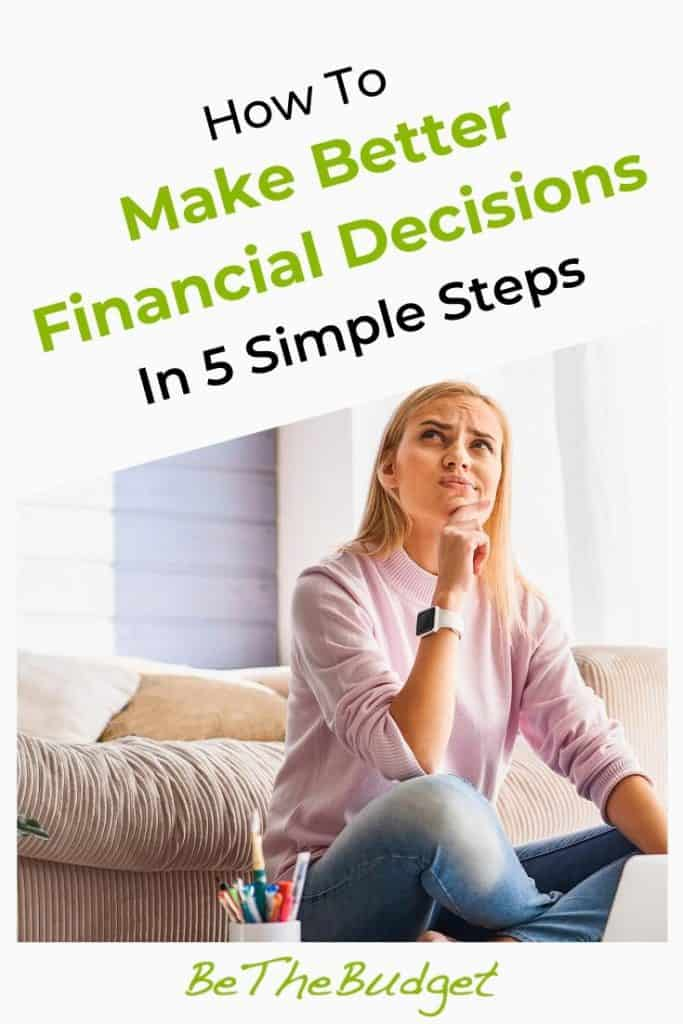 5 Steps to make better financial decisions | Be The Budget